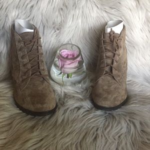 White Mountain Special Taupe Suede Ankle Bootie